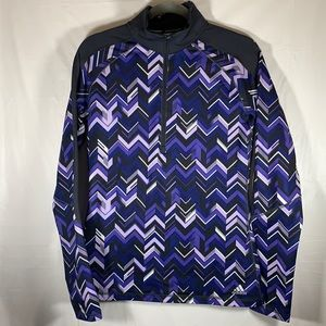 Adidas Purple & Black Half-Zip Sweater Medium